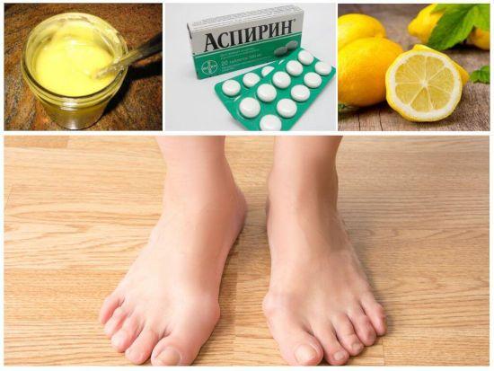 Мед, аспирин, лимон, ноги
