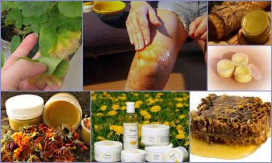 Смазывание колена, медовые соты, травы