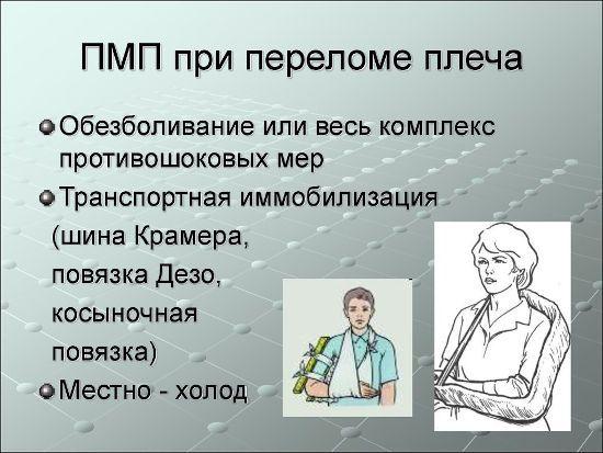 Помощь при переломе плеча